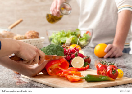 Cutting a vegetables for salad